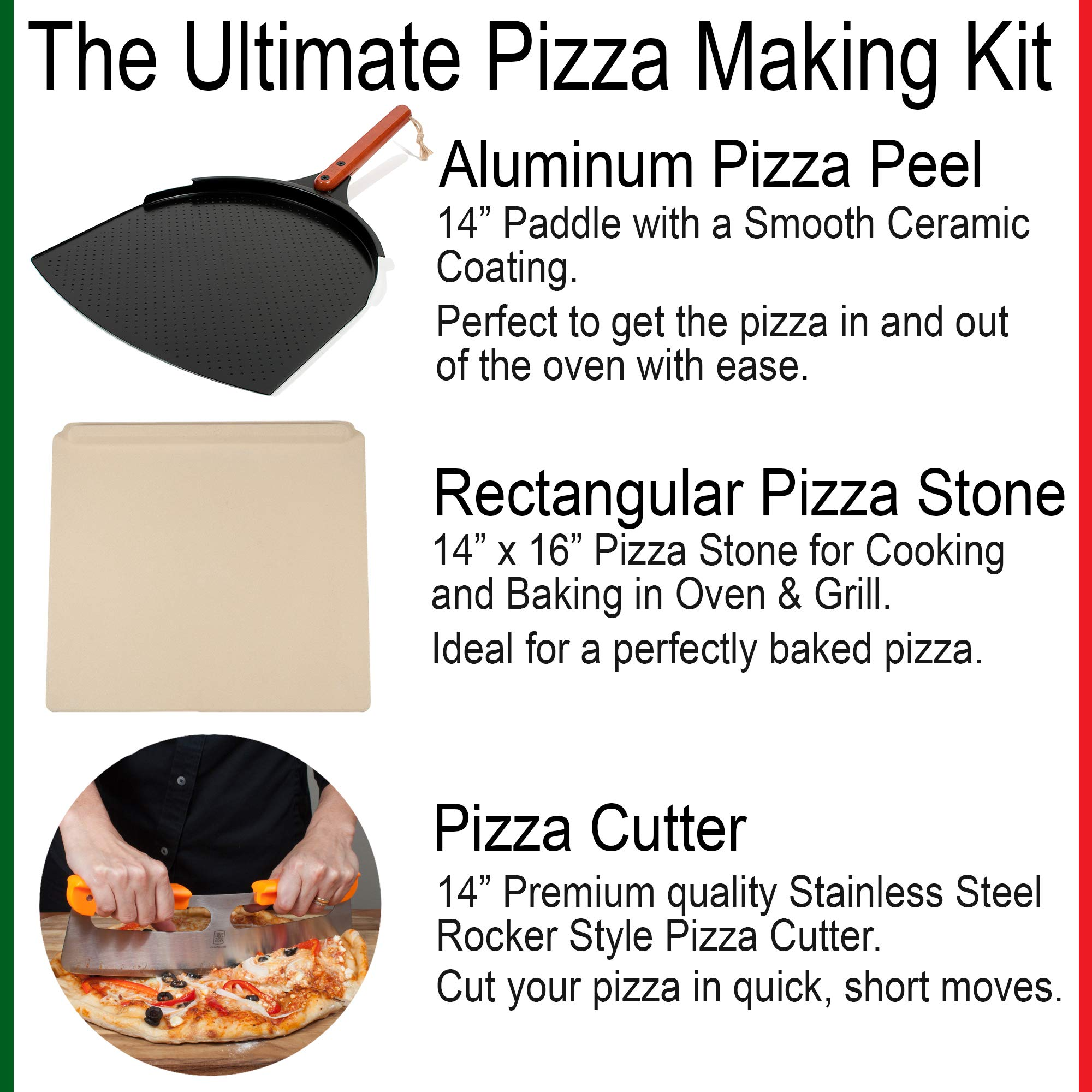 The Ultimate Pizza Making Set - 14'' x 16'' Pizza Stone, 14'' Aluminum Pizza Peel and 14'' Stainless Steel Rocker Pizza Cutter | Great for Baking Pizza, Cookies and Bread in Any Oven or Grill by Love This Kitchen (Image #1)