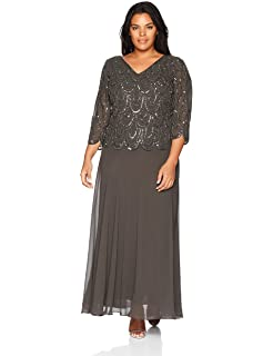 c42b10426f7 J Kara Women's Plus Size 3/4 Sleeve with Scallop Beaded Pop Over Gown