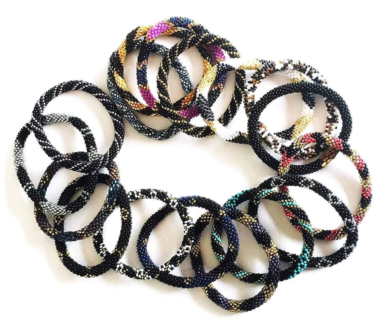 Wigspedia Handmade Crochet Glass Seed Bead Nepal Roll on Boho Bracelet - Wholesale Black Scheme (6 Pieces Black Bracelets)