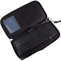 Unisex Wallet Leather RFID Blocking Travel Clutch Long Zipper |17 Card Slots|