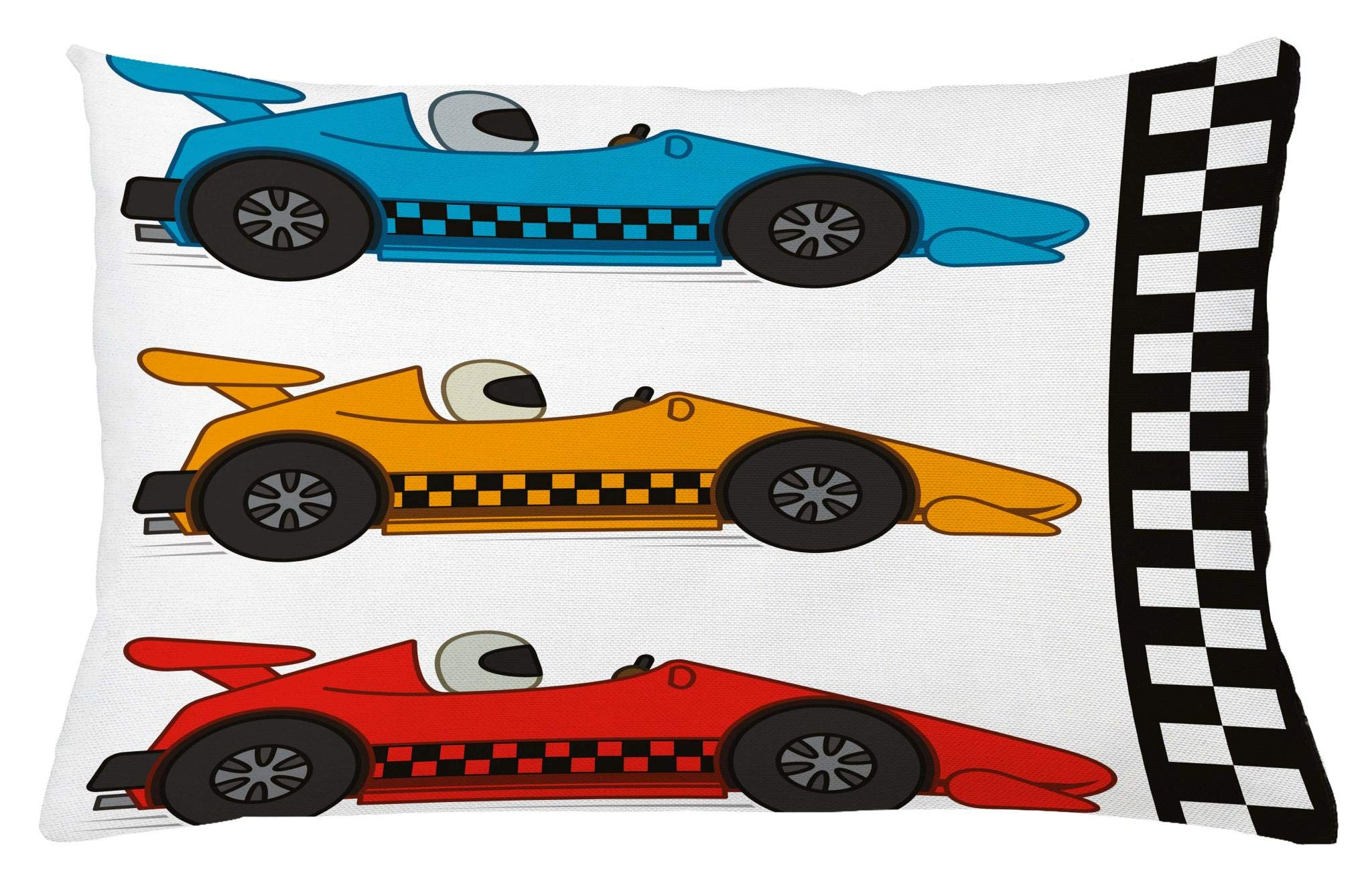 Lunarable Boy's Room Throw Pillow Cushion Cover, Race Cars at Start Line Adrenaline Exotic Sports Championship Artsy Theme, Decorative Accent Pillow Case, 26 W X 16 L Inches, Marigold Blue Red