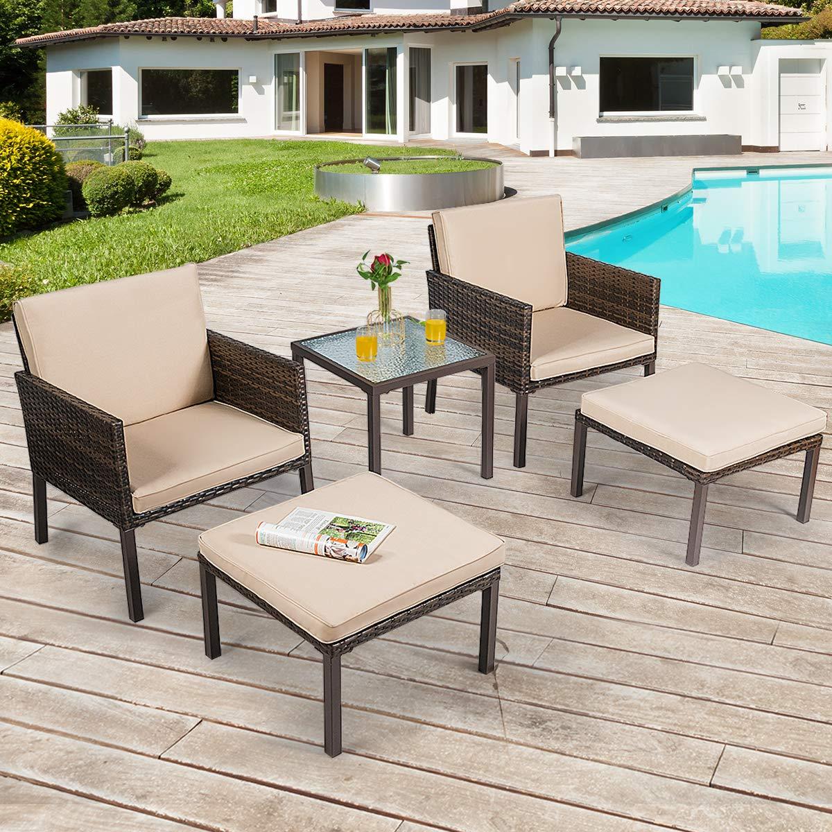 CHEAP Tangkula 5-Piece Patio Sofa Sets, Outdoor Furniture ...