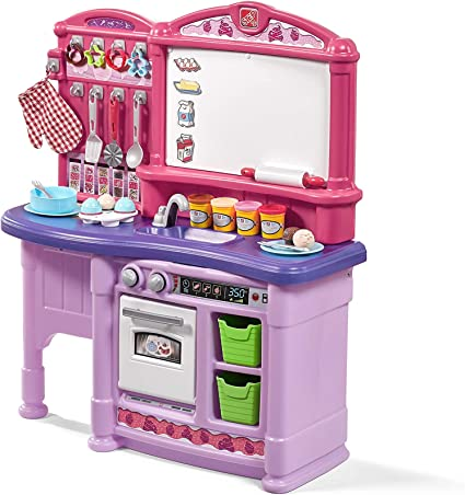 Amazon Com Step2 Create Bake Play Kitchen Girls Pink Kids Kitchen Playset With Play Food Toy Baking Set Accessories Included Toys Games