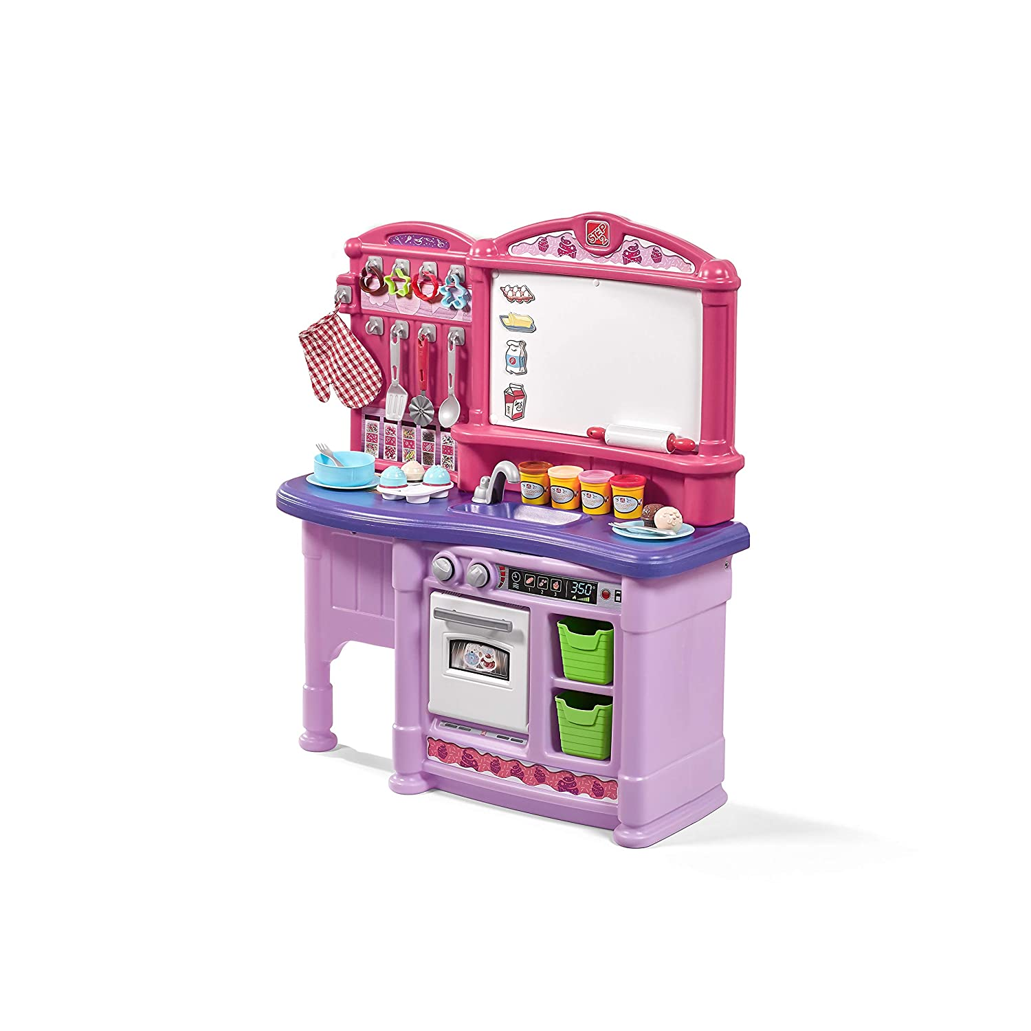 Step2 Create & Bake Play Kitchen | Girls Pink Kids Kitchen Playset with  Play Food | Toy Baking Set & Accessories Included