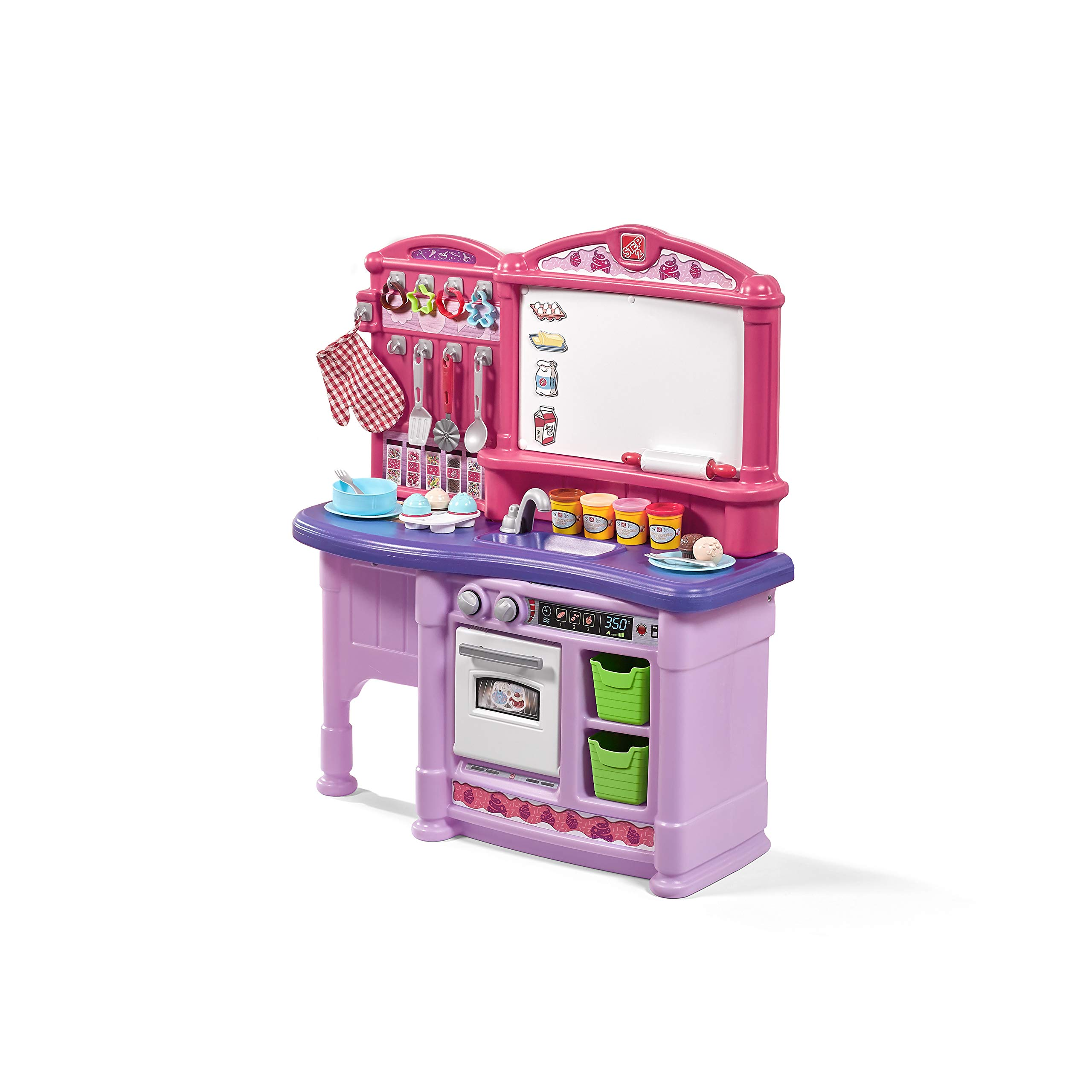 Step2 Create & Bake Play Kitchen with Toy Baking Set, Pink & Purple, 40'' H x 34.25'' W x 12'' D