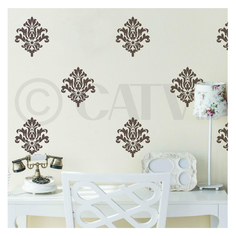 Damask set of 18 vinyl wall decal self adhesive wall pattern stickers (Metallic Bronze)