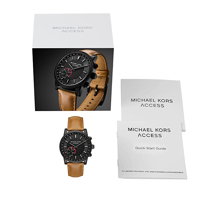 ec5ac6d78659aa Amazon.com: Michael Kors Access Men's 'Hutton Hybrid Smartwatch' Quartz  Stainless Steel and Leather Casual Watch, Color Brown (Model: MKT4026):  Watches