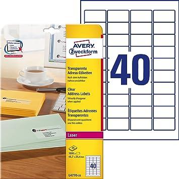 Avery Zweckform L4770-25 - Etiqueta transparente para impresora ...