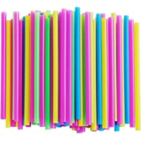 Assorted Bright Colors Jumbo Plastic Smoothie Straws, Pack of 100 Pieces