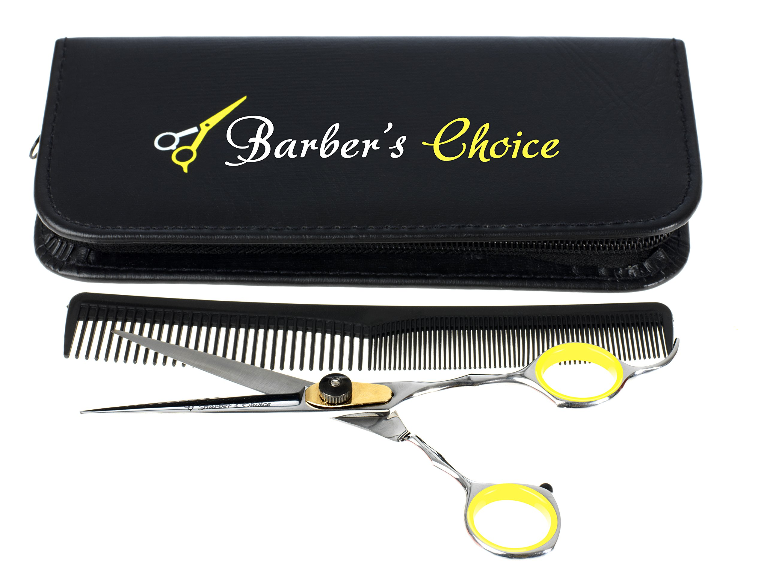 Professional Hair Cutting Barber Scissors/Shears with Comb and Case - 6.5'' Overall Length - Japanese Stainless Steel - Sharp Razor Edge - with Adjustment Tension Screw - by Barber's Choice by Barber's Choice
