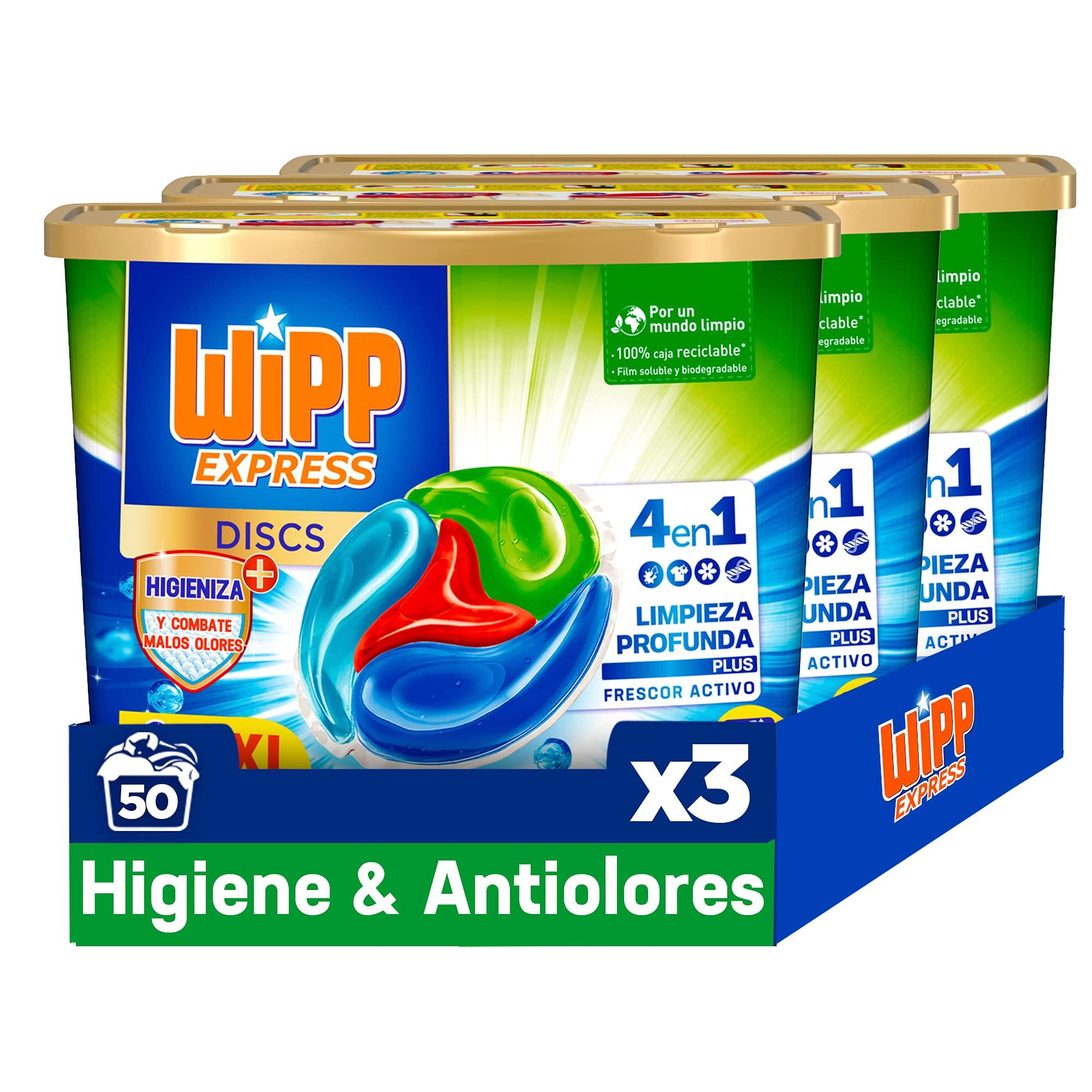 Wipp Express DISCS Higiene & Antiolores Detergente en Cápsulas 4 en 1. 50 Discos, Pack de 3, Total: 150 Discos