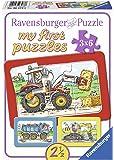 Ravensburger 06573 - 3x6 bitar Barnpussel från 2 år - Mitt första pussel - Traktor och grävare - en rolig aktivitet för…