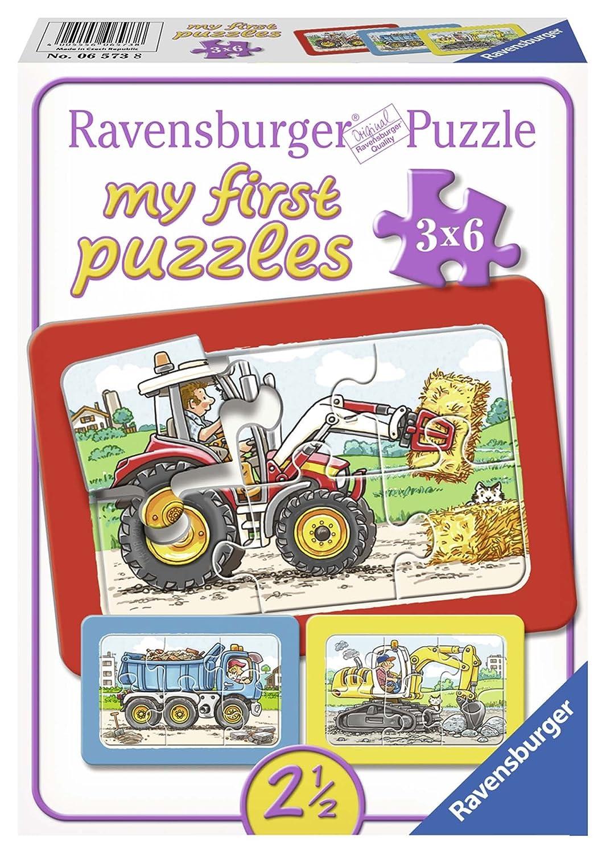 Ravensburger Kinderpuzzle Bagger, Traktor und Kipplader - 06573 / 3 ...
