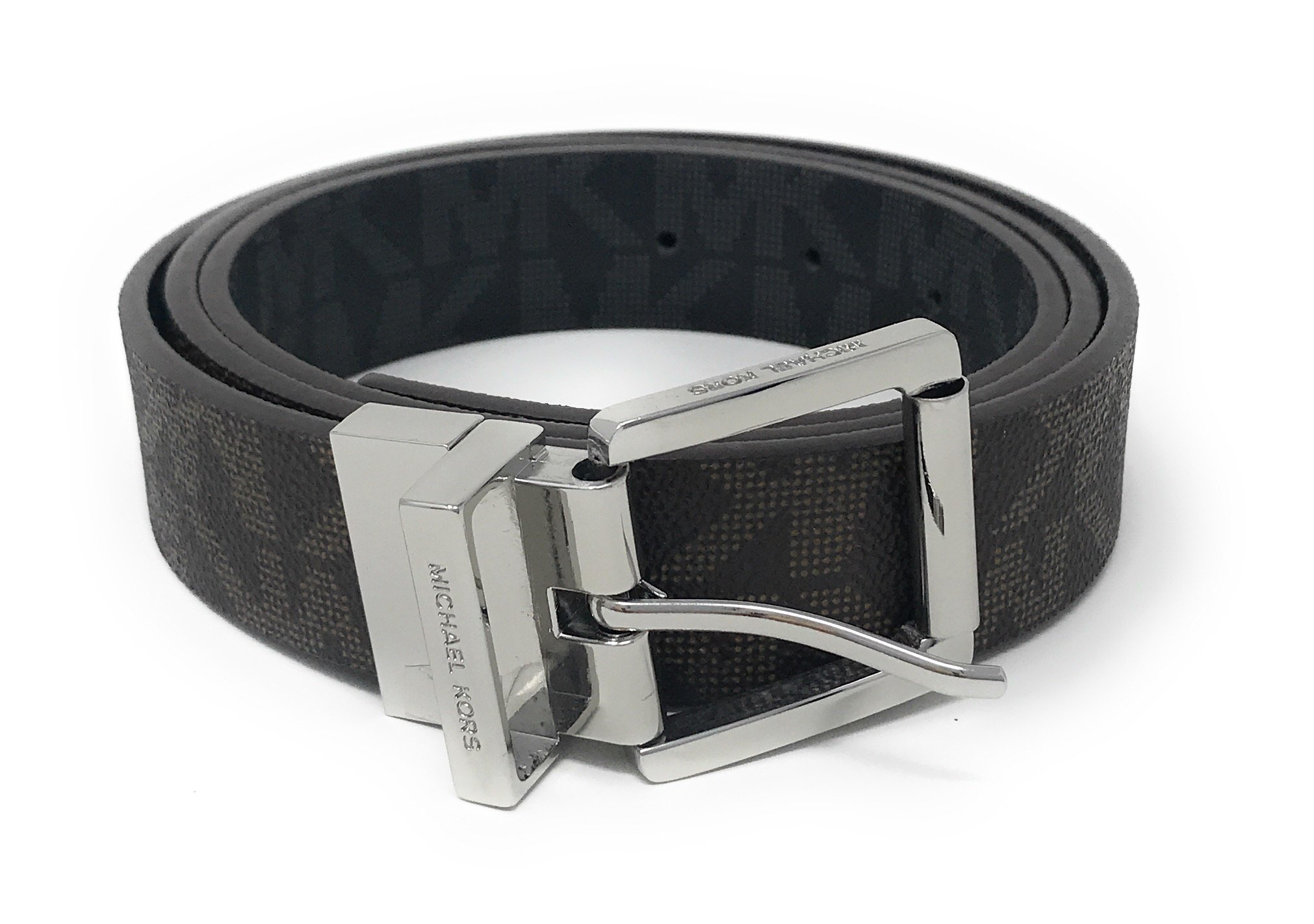 Michael Kors Women's 30mm Brown To Black Reversible MK Logo Monogram Synthetic Leather Belt (XL)