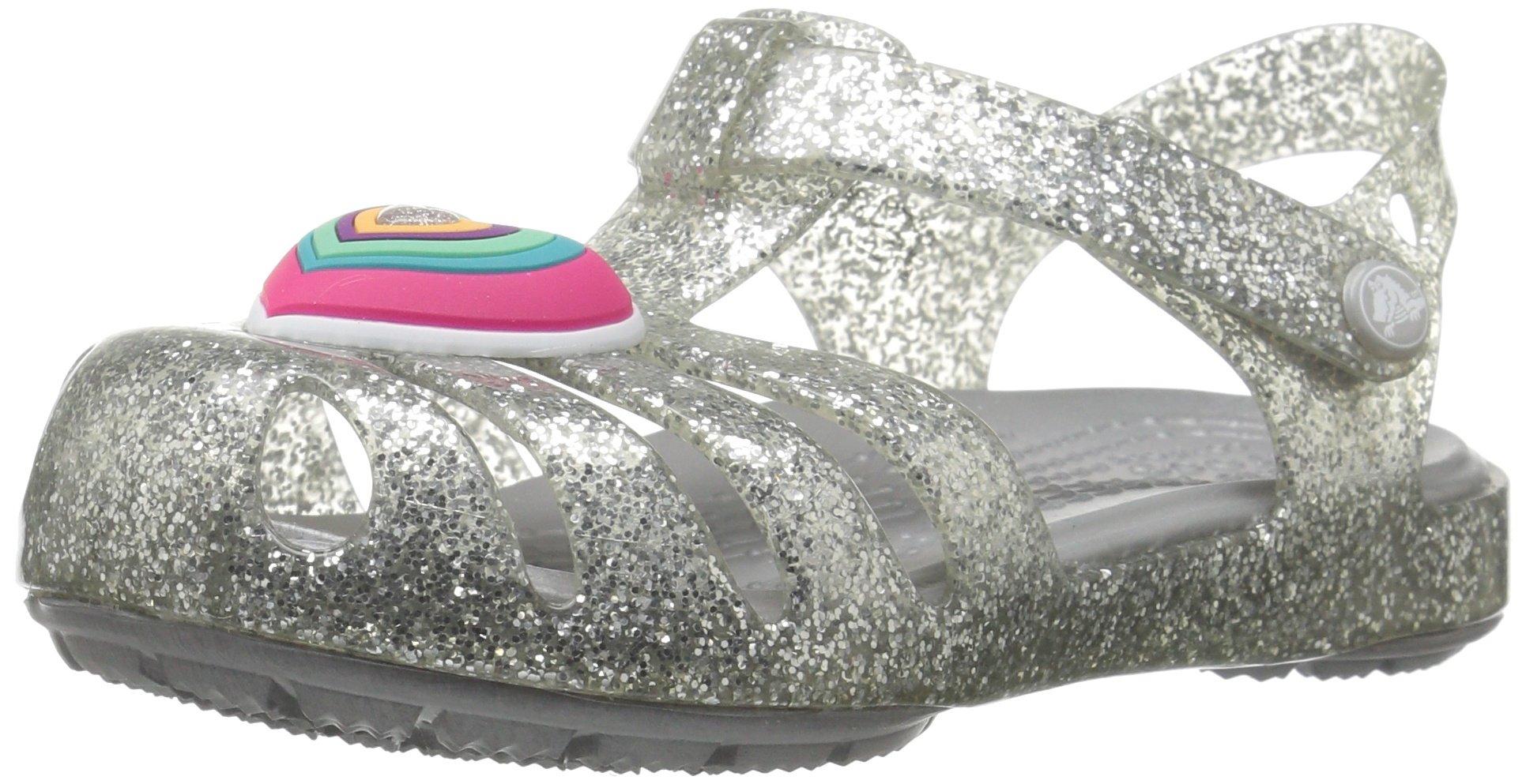 Crocs Girls' Isabella Novelty Flat Sandal, Silver, 11 M US Little Kid