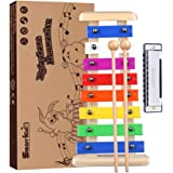 Precisely Tuned Wooden Xylophone for Kids & Harmonica Set - Professional Kids Musical Instruments Set Percussion Instruments