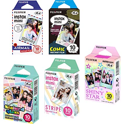 Fujifilm Instax Mini 5 Pack Bundle Includes Stained Glass, Comic, Stripe, Shiny Star, Airmail. 10 Sheets X 5 Pack = 50 Sheets. by Fujifilm