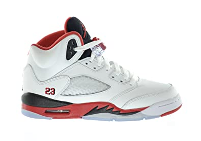 buy popular a62bd cc859 Image Unavailable. Image not available for. Colour  Jordan Air 5 Retro (GS)  Big Kids Basketball Shoes White Fire Red-