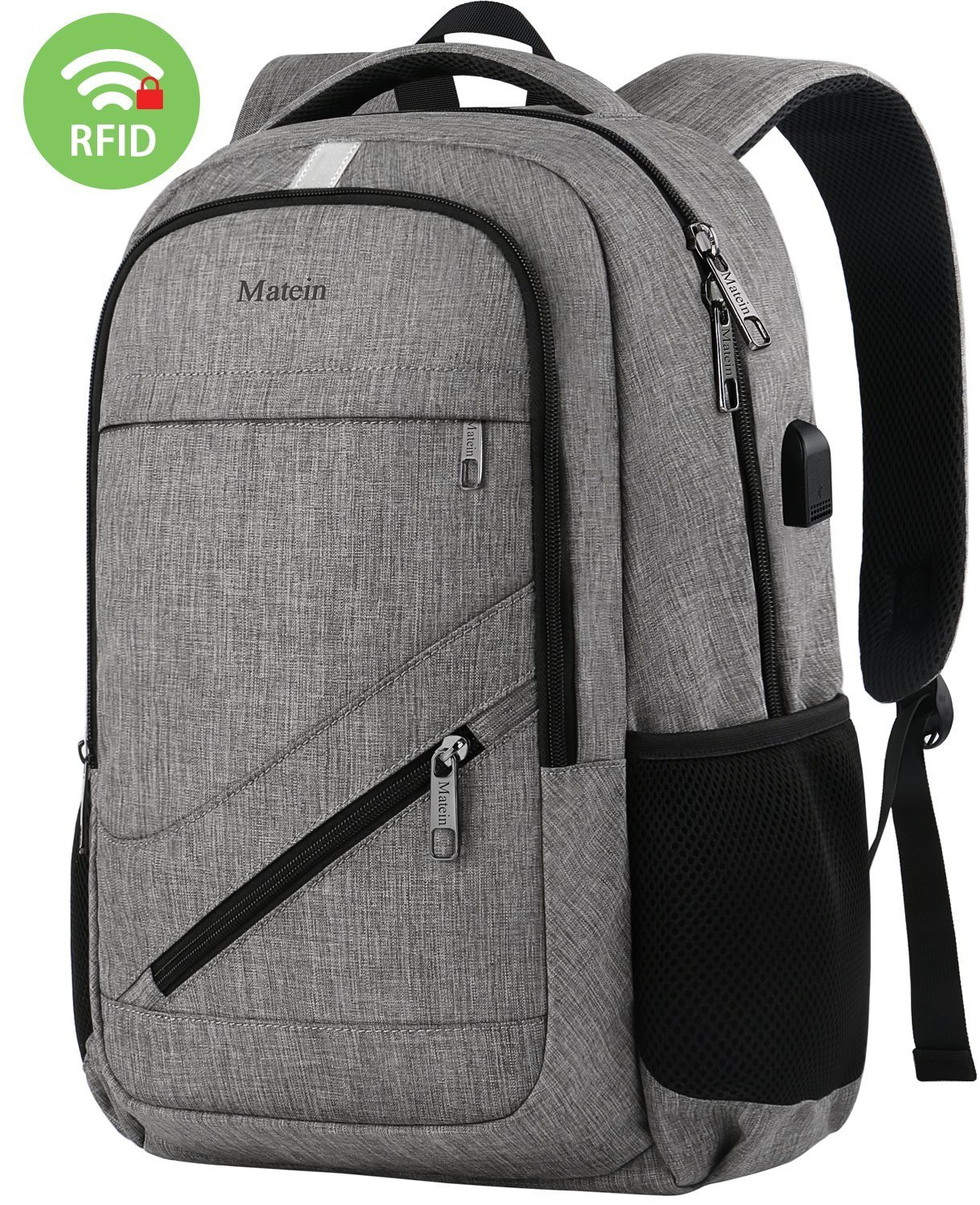 Travel Laptop Backpack,Durable Anti Theft High School Backpack for Women Men,Business Computer Laptop Bag with USB Charging Port,Waterproof College Student Bookbag Fit 15.6 Inch Laptop Notebook-Grey Everyworth EH-50001
