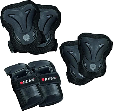 Knee Pads Elbow Pads and Wrist Guards Ideal Skate and Scooter Protection for Kids and Adults Beginners SkateHut Pro Black Grey Triple Pad Set Bundle