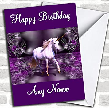 Purple Unicorn Customised Birthday Greetings Card Cards Mystical Fantasy Religion Amazoncouk Office Products