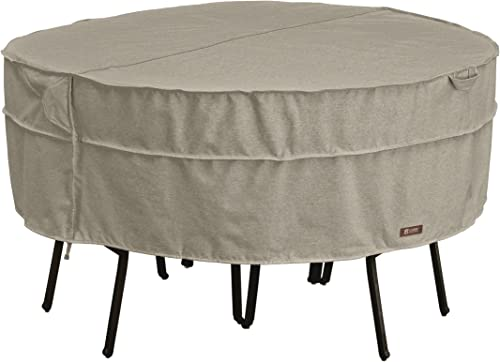 Classic Accessories Montlake Water-Resistant 94 Inch Round Patio Table Chair Set Cover