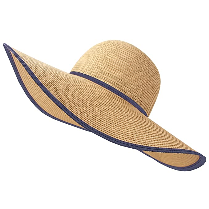 9e4648d086ecb RIONA Women Wide Brim Straw Hat Floppy Foldable Roll up Hat Beach Sun Hat  Summer UPF 50+ Coffee at Amazon Women s Clothing store
