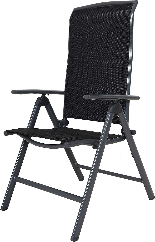 Chicreat - Silla plegable de aluminio tapizada y con respaldo alto (negro y gris): Amazon.es: Jardín