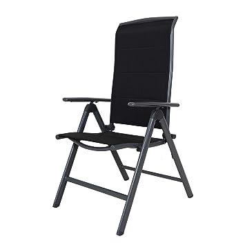 Chicreat silla tapizada de aluminio, sillón de jardín gris / negro silla plegable respaldo alto