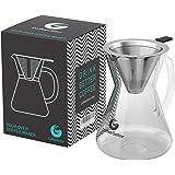 Coffee Gator Cafetière «Pour-Over» (medium, standard) avec filtre longue durée en acier inoxydable et carafe Égouttoir pour infuser le café.