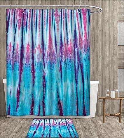 Tie Dye Shower Curtain Sets Bathroom Close Up Vertical Gradient Figures Hippie Alter Life