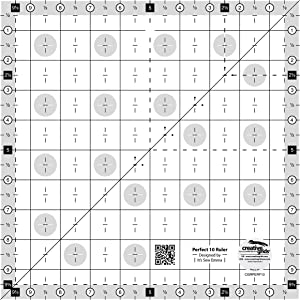 Creative Grids Perfect 10 Quilting Ruler Designed by Sew Emma, Patented Non-Slip Grip