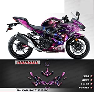 Kungfu Graphics Custom Decal Kit for Kawasaki Ninja 400 ABS 2017 2018 2019 2020, Purple, KWNJ4A1719010-KO