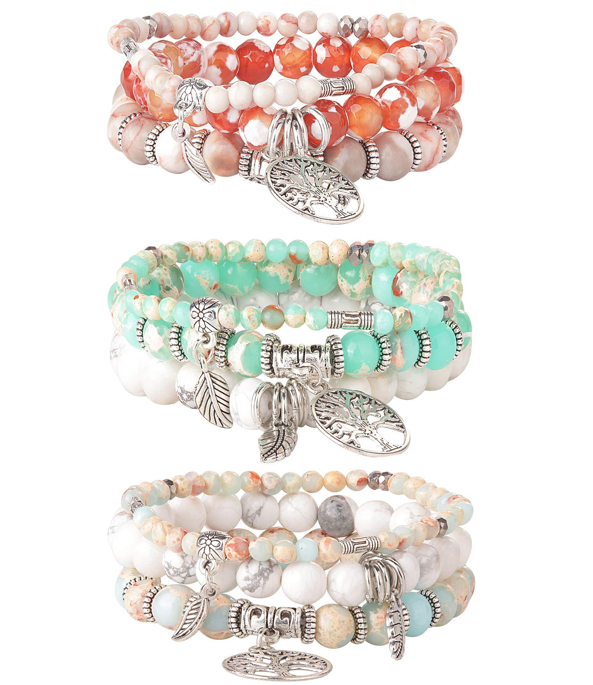 LOYALLOOK 3 Set Tree of Life Beaded Bracelet for Women Girls Couple Friends Bracelet Natural Stone Healing Yoga Bracelet Charm Chakra Bracelet Set by LOYALLOOK