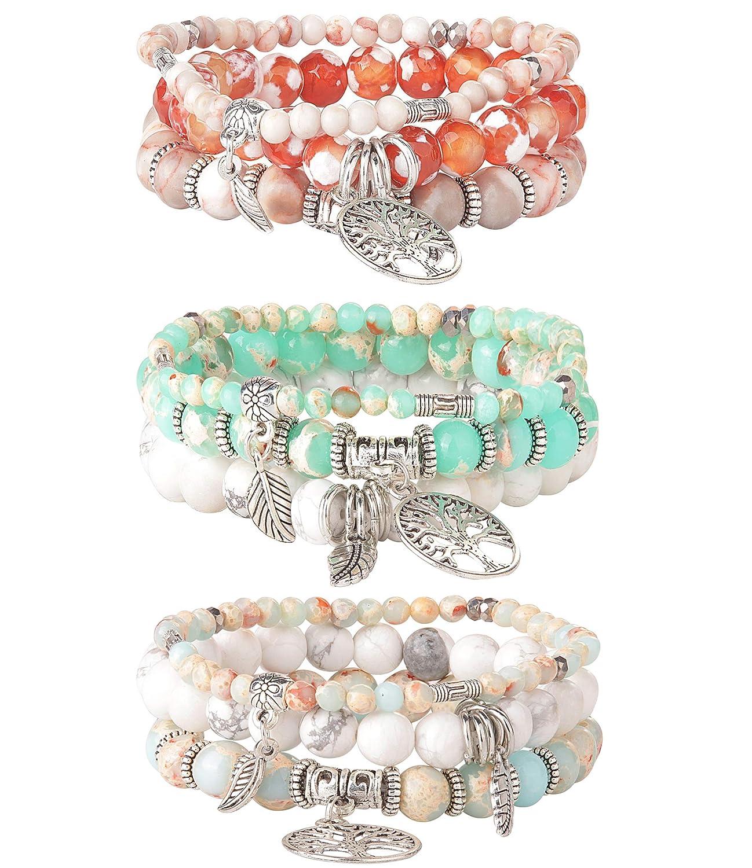 LOYALLOOK 3 Set Tree of Life Beaded Bracelet for Women Couple Friends Bracelet Natural Stone Healing Yoga Bracelet Charm Chakra Bracelet Set