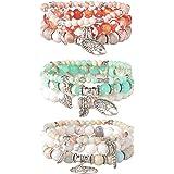 LOYALLOOK 3 Set Tree Beaded Bracelet for Women Couple Friends Bracelet Natural Stone Healing Yoga Bracelet Charm Chakra Brace