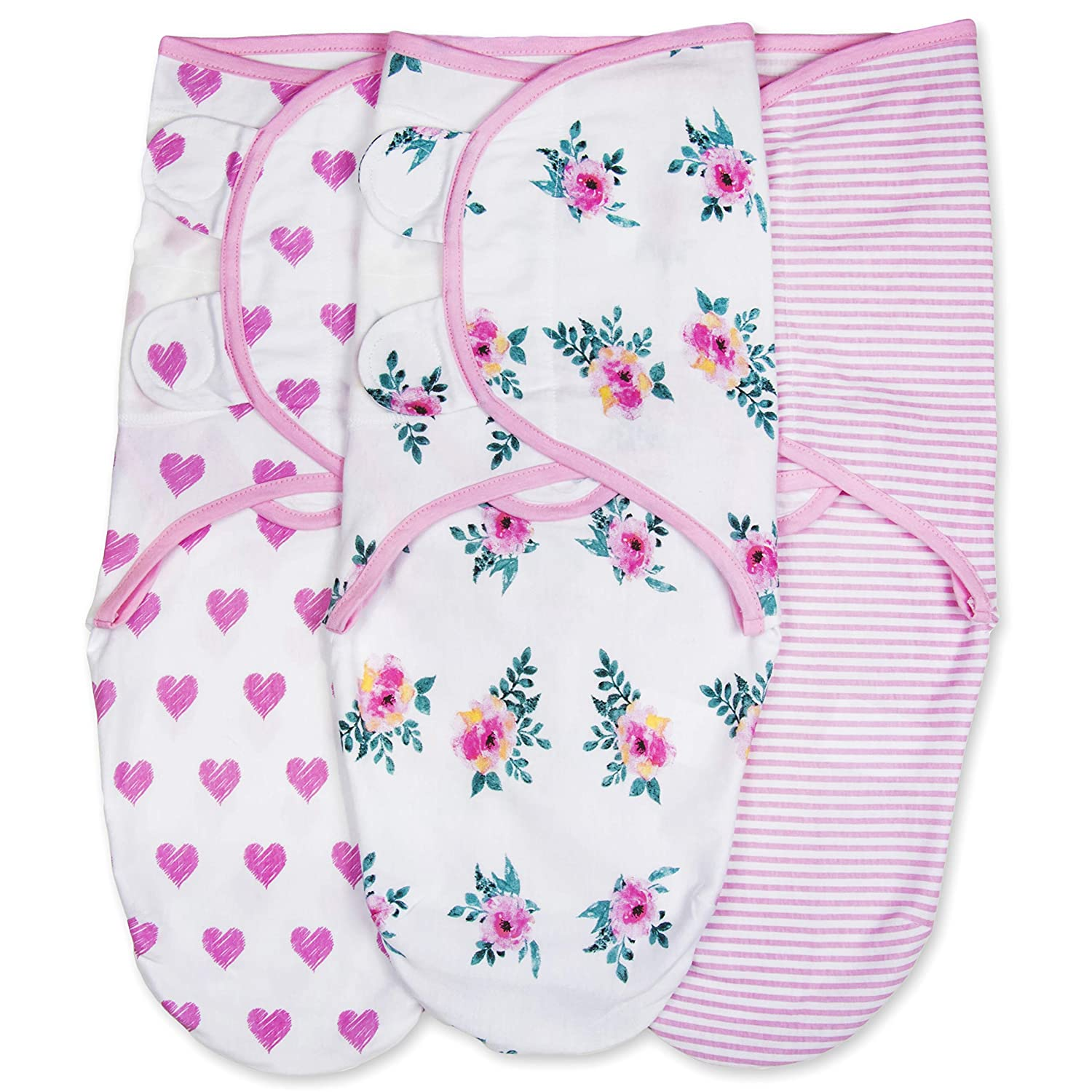 Emma + Ollie Swaddle Blanket Wrap Set of 3, Adjustable Infant Baby Swaddle Wrap Blanket, Pink Swaddle, Pink Flower, Pink Heart, Pink Stripe Swaddle Wrap, Gender Neutral Baby Shower Gift