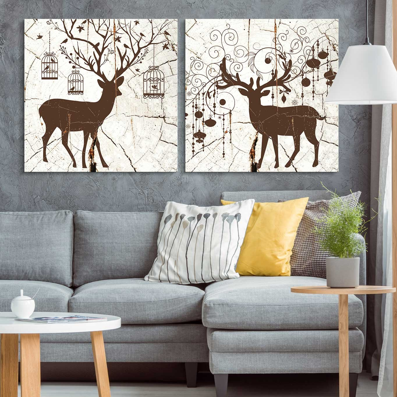 wall26 - 2 Panel Square Canvas Wall Art - Bohemian Deer Wood Effect Canvas - Giclee Print Gallery Wrap Modern Home Decor Ready to Hang - 24''x24'' x 2 Panels