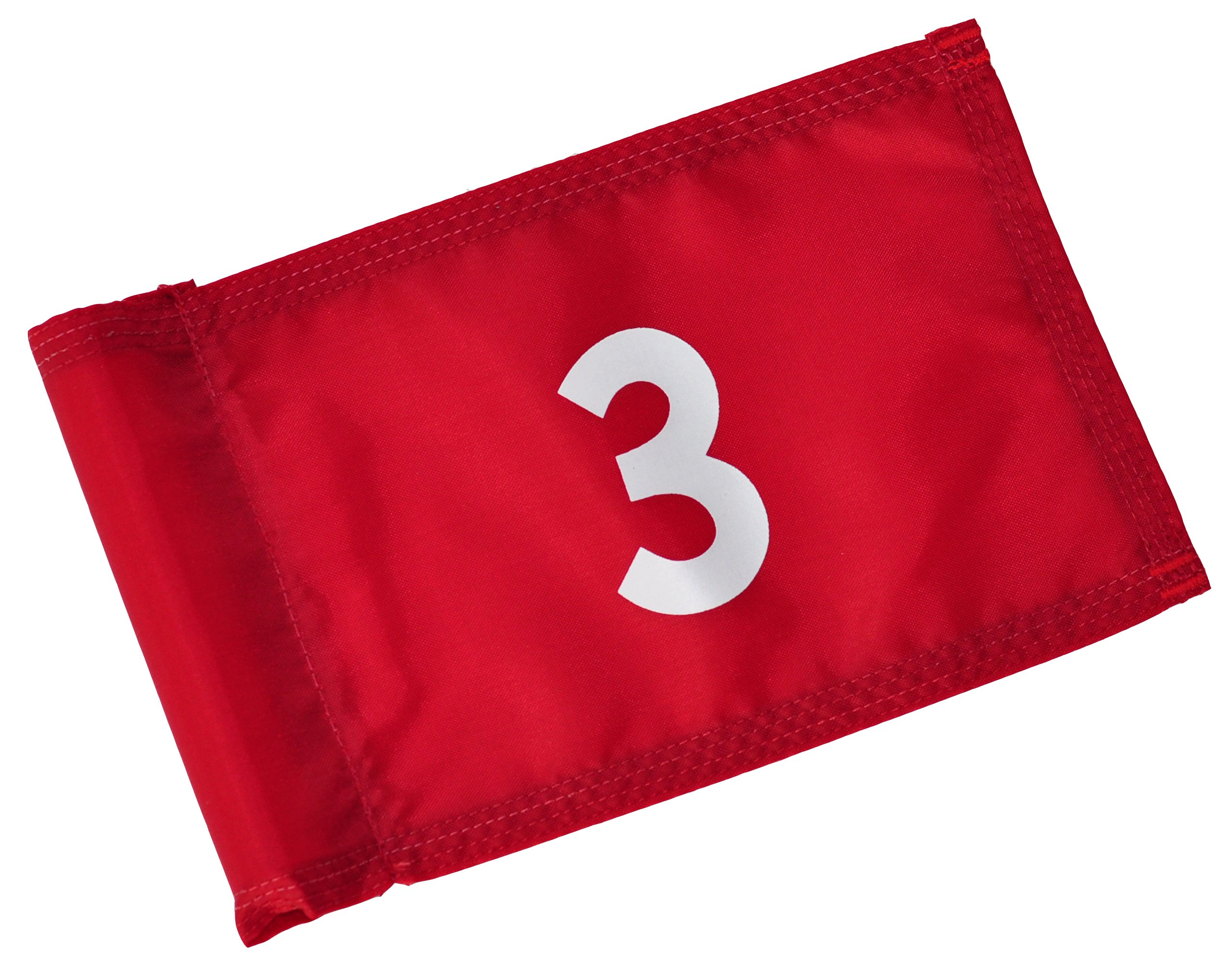 Backyard Putting Green Numbered Golf Flag - Numbered Golf Flag - Red and White 1, 2, 3, 4 (Red with White Numbers, # 3)
