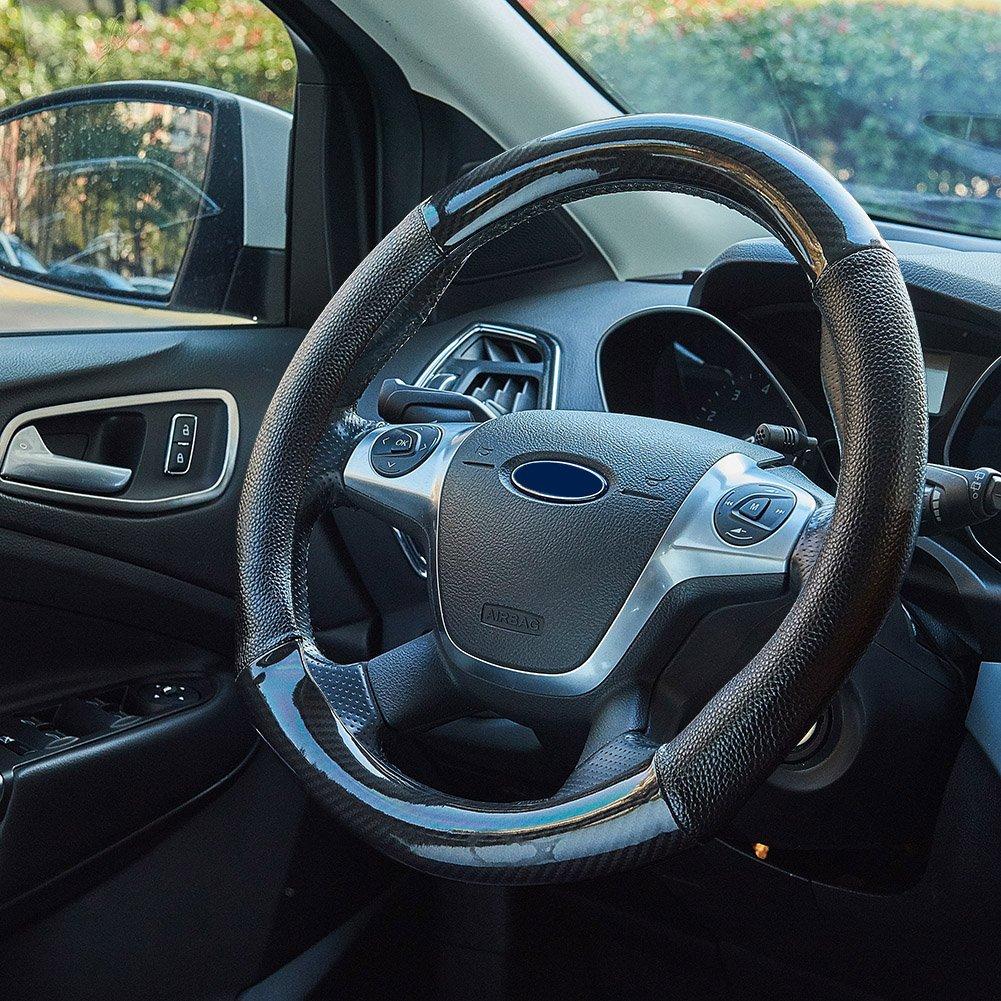 Blueshyhall PU Leather Auto Car Steering Wheel Bling Bling Rhinestone Soft Skidproof Cover Universal 15 inch