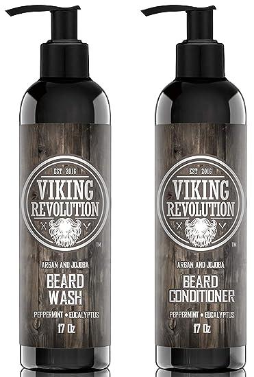 Viking Revolution Beard Wash & Beard Conditioner Set w/Argan & Jojoba Oils  – Softens,