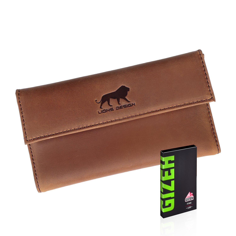 Lions Design Leder-Tabakbeutel inkl Gizeh Papers mit Filterfach Blättchenhalter Magnetverschluss - Premium Tabaktasche - 100% Handmade Drehertasche Braun
