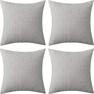 Deconovo Soft Blank Cushion Cover Faux Linen Pillow Cover Throw Pillow Case for Couch 16x16 Inch Warm Gray 4 Pcs Case Only No Insert