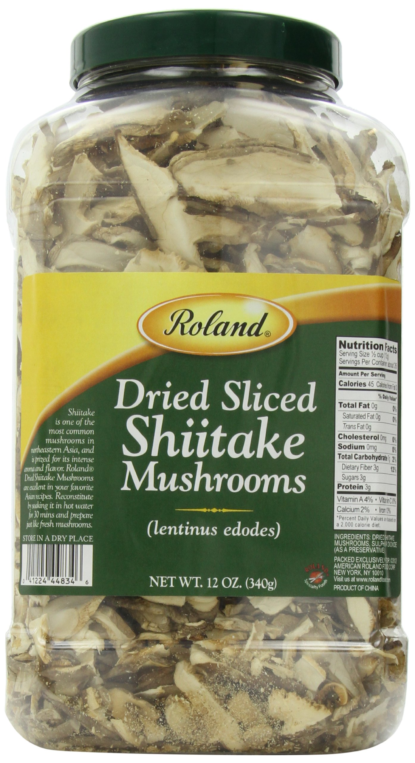 Roland Dried Mushrooms, Shiitake Sliced, 12 Ounce by Roland