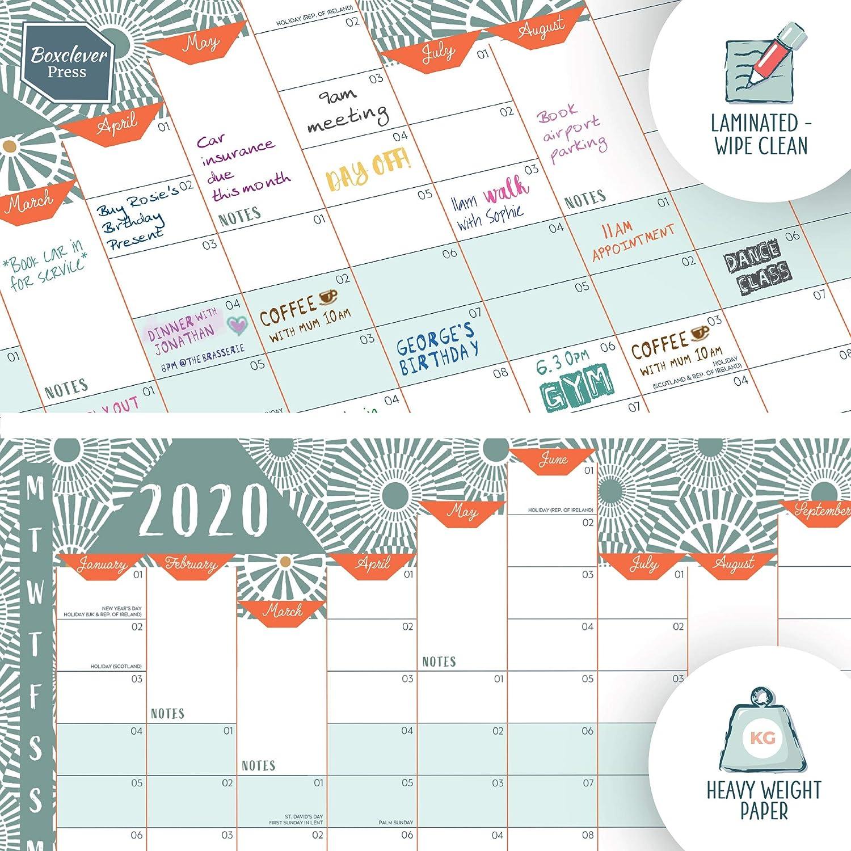 Calendario 2020 da muro di Boxclever Press Da Gennaio 2020 a Dicembre 2020 Laminato calendario da muro. Agenda planner da parete casa o ufficio Calendario 2020 formato ritratto In inglese