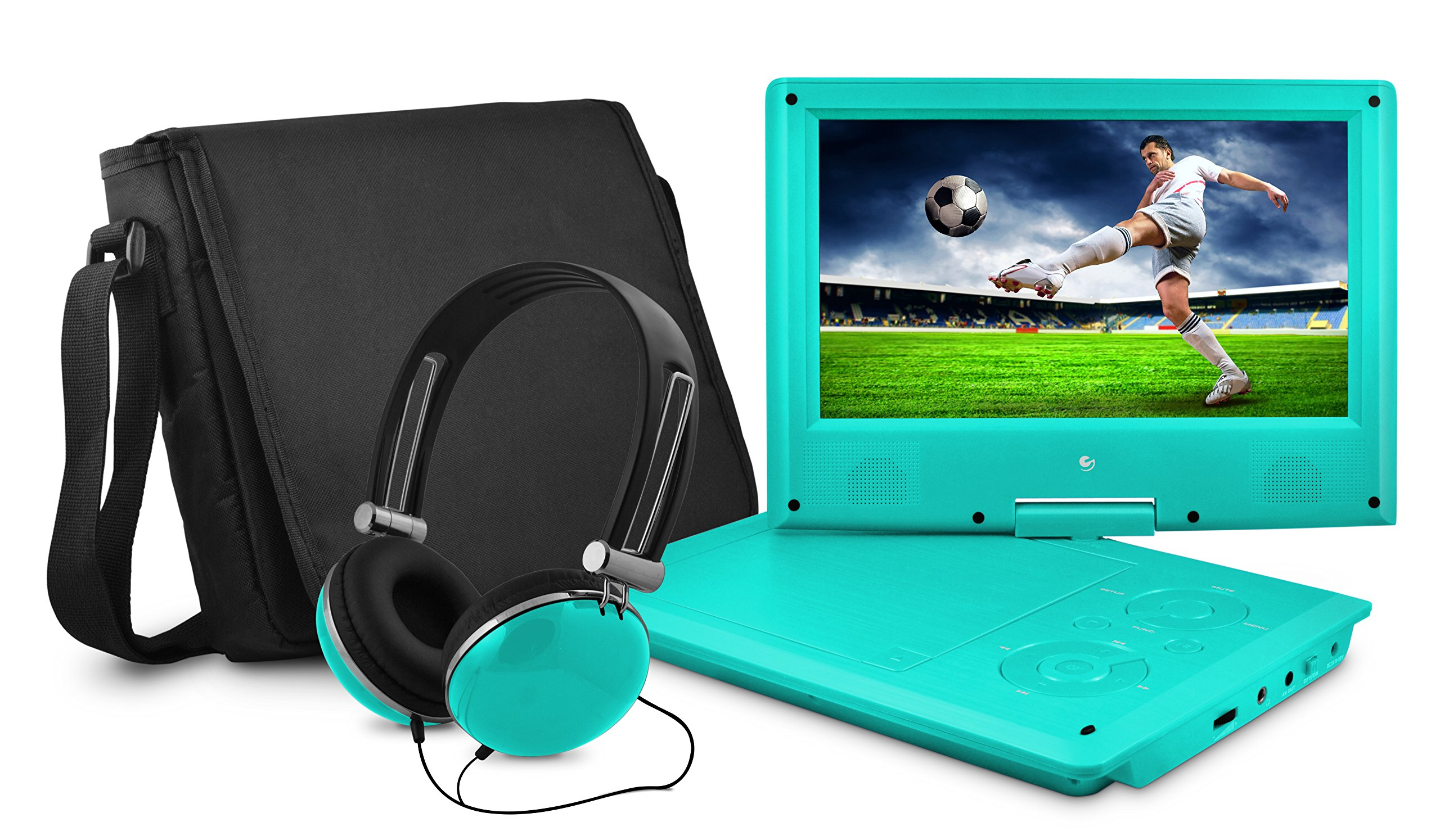 Ematic Portable DVD Player with 9-inch LCD Swivel Screen, Travel Bag and Headphones, Teal
