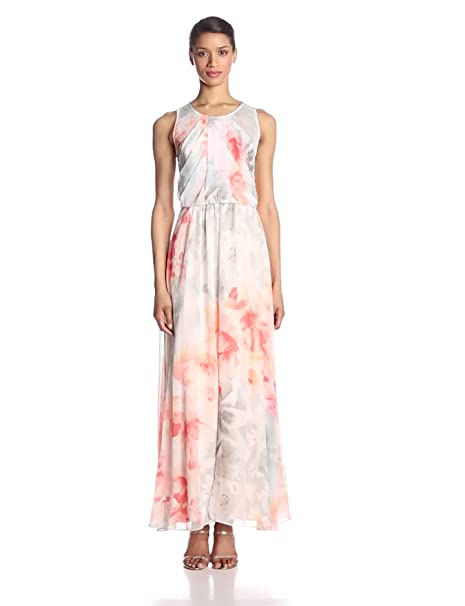 Vince Camuto Floral Crinkle Chiffon Maxi Dress