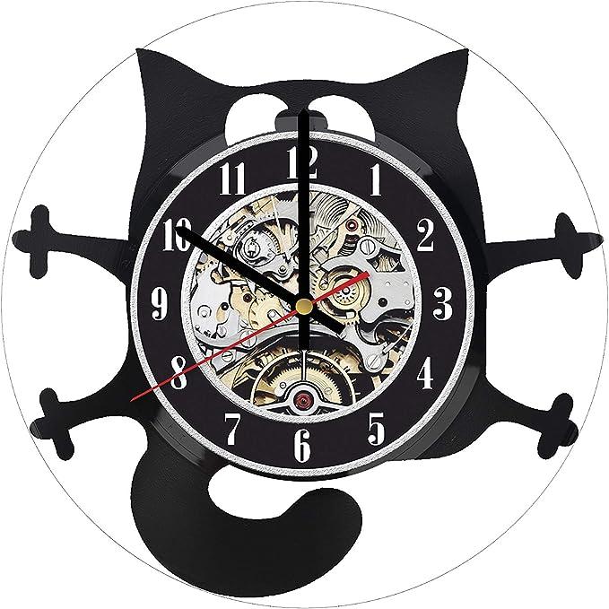 Cat Kitty Kitten Tail Wagging Decorative Wall Art Clock Illustration Cartoonist Housewarming Birthday Gift Nursery Bedroom Office Room Clock