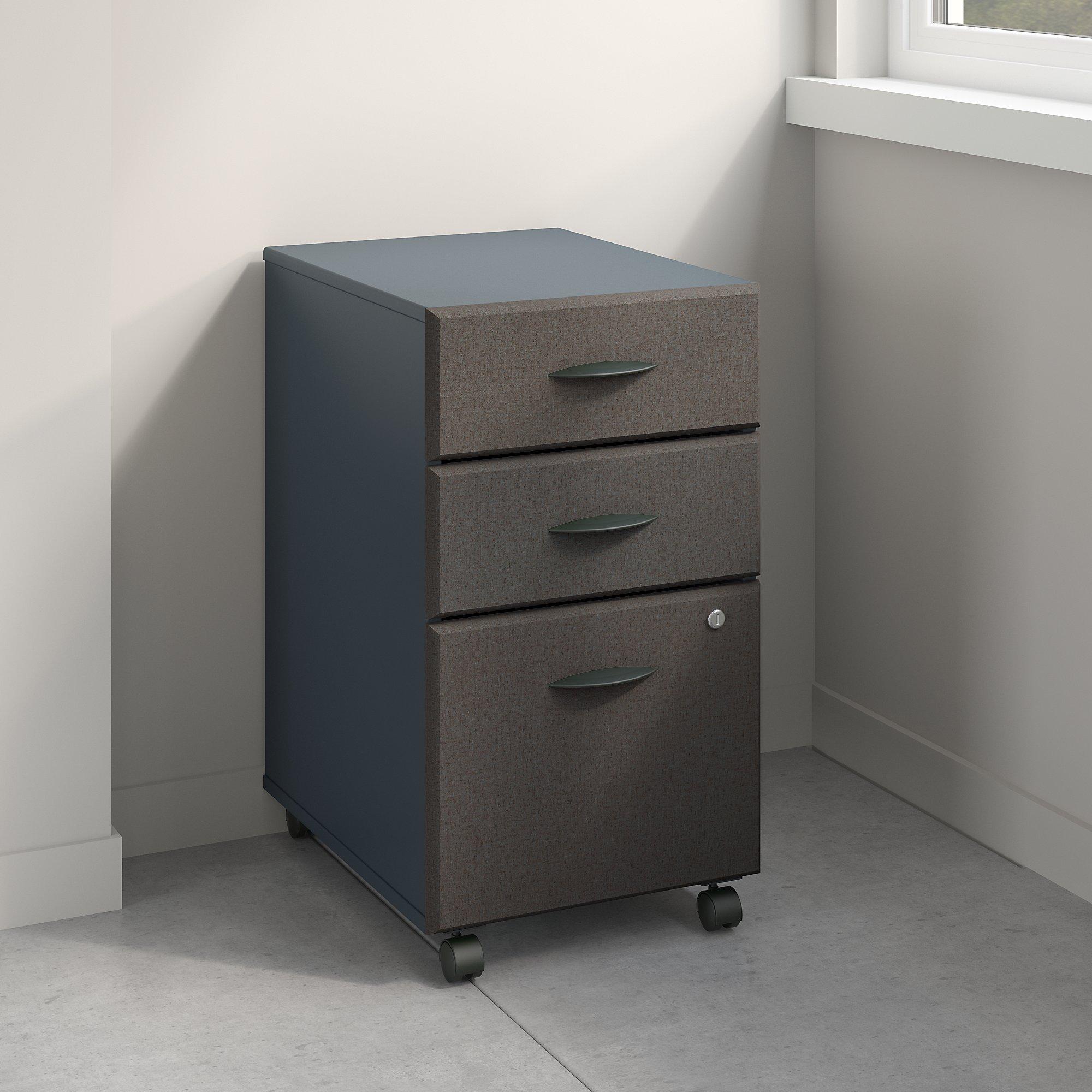 Bush Business Furniture WC84853PSU Series A 3 Drawer Mobile File Cabinet, Slate by Bush Business Furniture