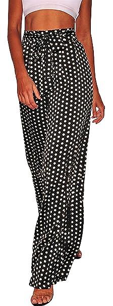 Mujer Elegantes Moda Pantalones Anchos Primavera Otoño Bandage Fiesta  Estilo con Lazo Elastische Taille Color Sólido 857edc0f01dd